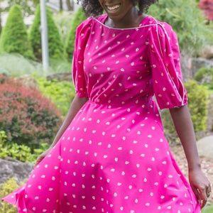 Dresses & Skirts - 1960's Hot Pink Triangle Print Vintage Dress